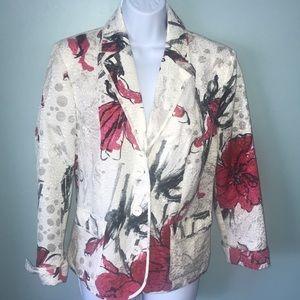 Chico's size 1 embellished silk floral blazer